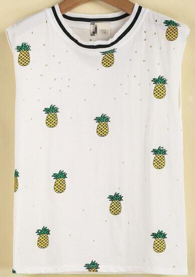 White Sleeveless Pineapple Print Ripped Vest