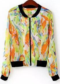 Green Long Sleeve Graffiti Print Jacket