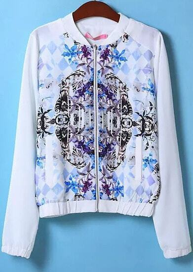 White Long Sleeve Floral Geometric Print Jacket