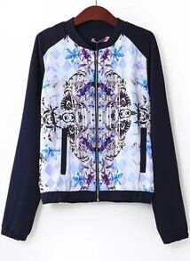 Navy Long Sleeve Floral Geometric Print Jacket