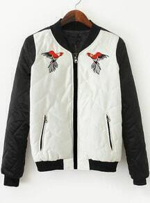 White Contrast Black Long Sleeve Embroidered Jacket