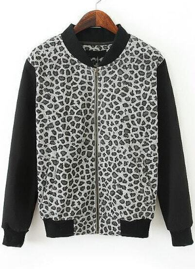 Black Stand Collar Long Sleeve Leopard Jacket