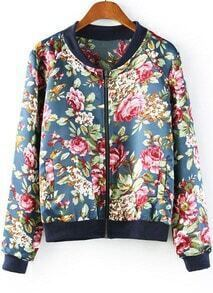 Navy Long Sleeve Floral Zipper Jacket