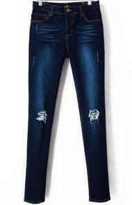 Navy Elastic Bleached Ripped Denim Pant