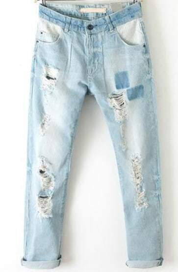 Light Blue Bleached Ripped Denim Pant