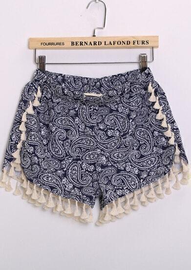 Blue Elastic Waist Totem Print Tassel Shorts