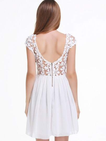 White Short Sleeve Hollow Floral Crochet Pleated Dress