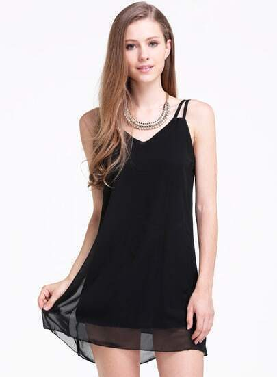 Black Spaghetti Strap Loose Chiffon Dress
