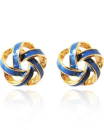 Blue Glaze Gold Twine Stud Earrings
