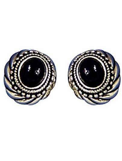 Black Gemstone Retro Silver Stud Earrings