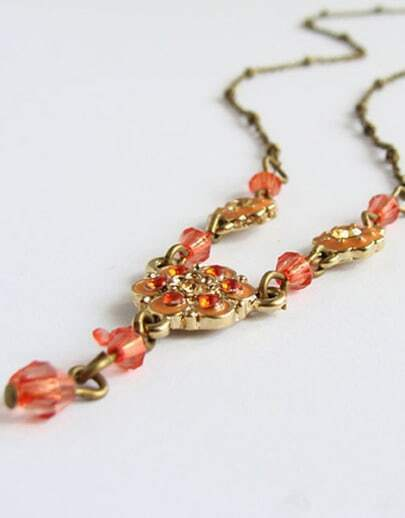 Red Bead Gold Flower Necklace