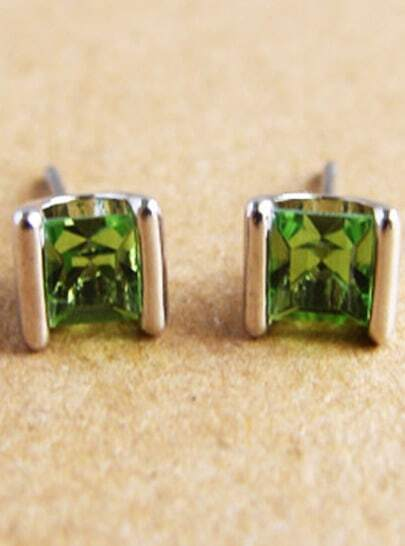 Green Diamond Fashion Silver Stud Earrings