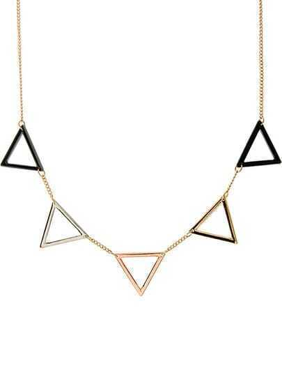 Gold Hollow Triangle Chain Necklace