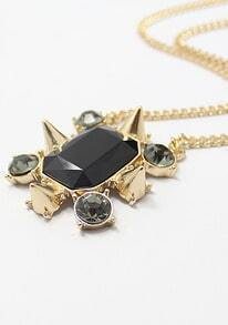 Black Gemstone Gold Rivet Chain Necklace