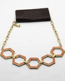 Red Glaze Gold Geometric Chain Necklace