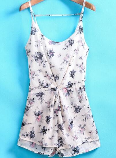 White Spaghetti Strap Floral Print Backless Jumpsuit