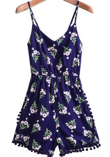 Blue Spaghetti Strap Floral Print Jumpsuit
