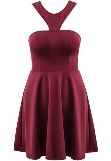 Wine Red Halter Cut Out Pleated Dress