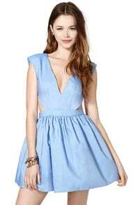 Blue Faille Shantung Sleeveless V Neck Cut Out Elegance Pleated Dress