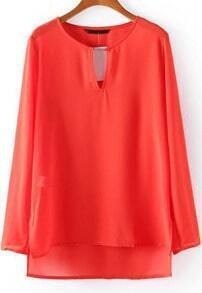 Red Long Sleeve Hollow Chiffon Blouse