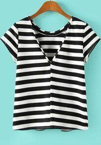 Black White Striped Short Sleeve Backless T-shirt