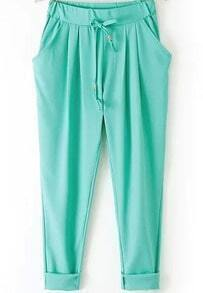 Green Elastic Drawstring Waist Pockets Pant