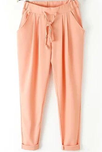 Orange Elastic Drawstring Waist Pockets Pant