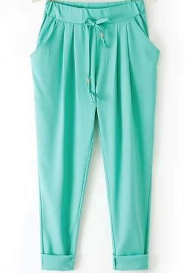 Green Elastic Drawstring Waist Pockets Pant