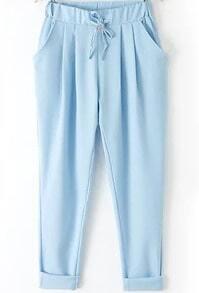 Blue Elastic Drawstring Waist Pockets Pant