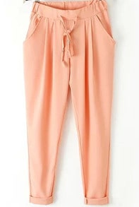 Orange Elastic Drawstring Waist Pockets Pant