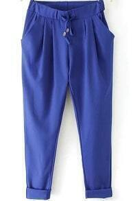 Royal Blue Elastic Drawstring Waist Pockets Pant