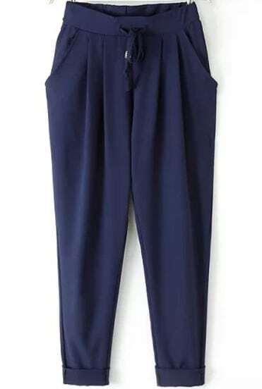 Navy Elastic Drawstring Waist Pockets Pant