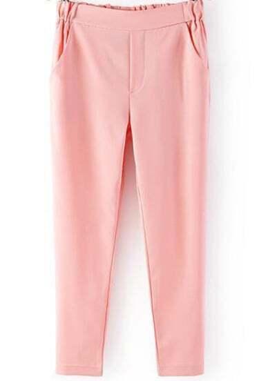 Pink Elastic Waist Pockets Pant