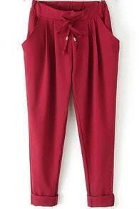 Red Elastic Drawstring Waist Pockets Pant