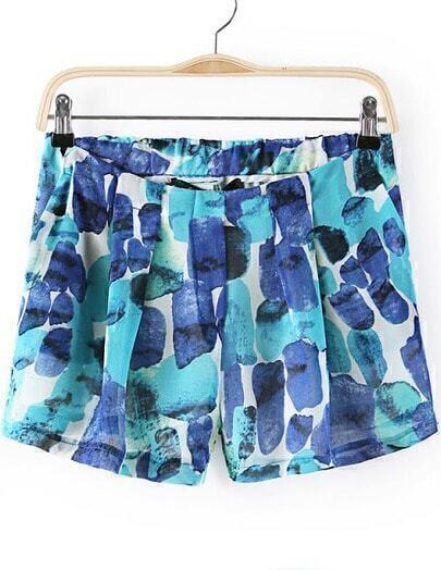 Blue Elastic Waist Graffiti Print Shorts