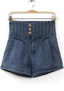 Blue High Waist Pockets Pant