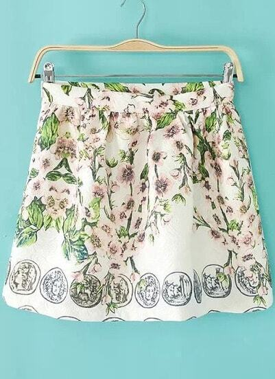 White Floral Coins Print Flare Skirt