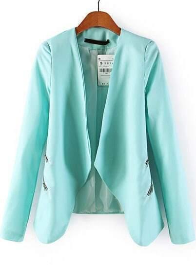 Blue Long Sleeve Zipper Crop Blazer