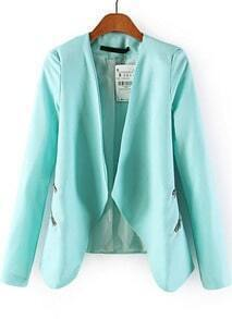 Blue Long Sleeve Zipper Crop Blazer