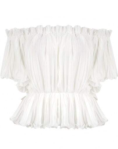 White Off The Shoulder Pleated Blouse