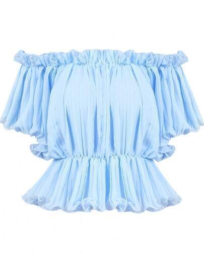 Blue Off The Shoulder Pleated Blouse