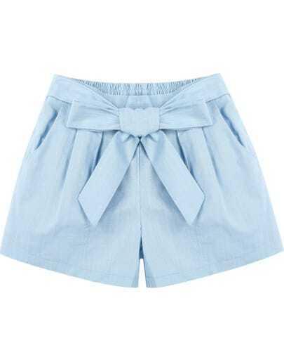 Blue Elastic Waist Bow Pockets Shorts