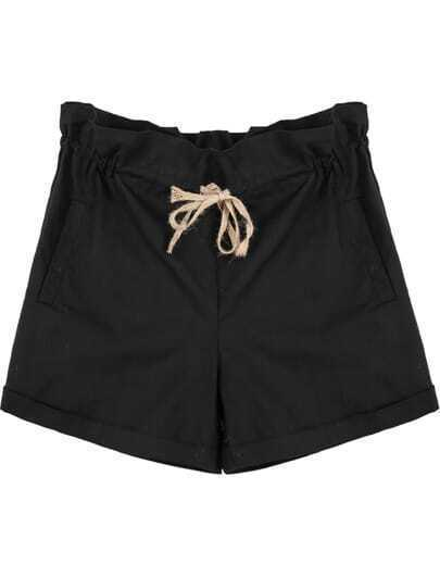 Black Elastic Waist Drawstring Pockets Shorts
