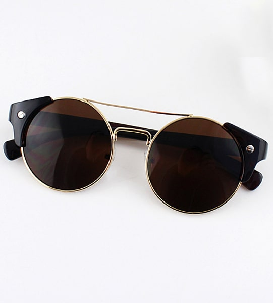 Brown Lenses Gold Round Sunglasses