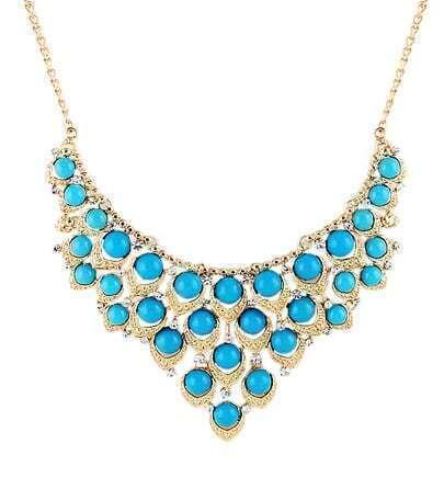 Blue Drop Gemstone Gold Collar Necklace