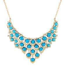 Blue Drop Gemstone Gold Collar Necklace