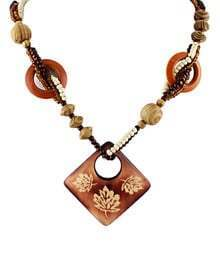 Brown Beading Wood Necklace