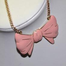 Pink Bow Gold Chain Necklace