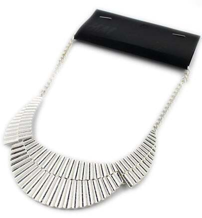 Silver Geometric Sector Chain Necklace