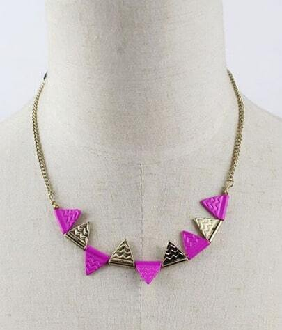 Rose Red Contrast Gold Triangle Chain Necklace